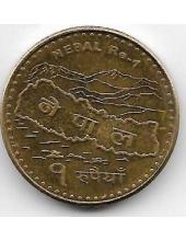 1 рупия. 2009 г. Непал. Карта, Эверест. 20-1-52