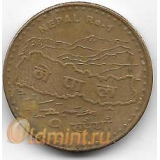 1 рупия. 2009 г. Непал. Карта, Эверест. 20-1-53