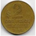 2 песо. 1998 г. Уругвай. 20-2-92