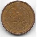 """1 евроцент. 2002 г. Германия. """"F"""". 20-3-93"""