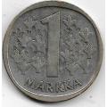 1 Марка. 1967 г. Финляндия. Серебро. 9-1-1608