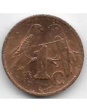1 цент. 2001 г. ЮАР. Капские воробьи. Новый герб. 6-3-626