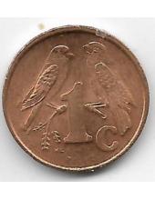 1 цент. 1999 г. ЮАР. Капские воробьи. Старый герб. 6-3-627