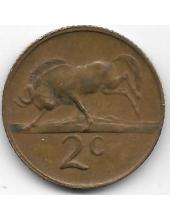2 цента. 1974 г. ЮАР. Антилопа Гну. 6-3-628