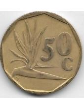 50 центов. 1991 г. ЮАР. Стрелитция королевская. 6-3-632