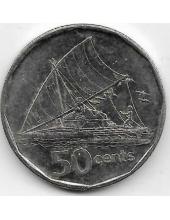 50 центов. 2009 г. Фиджи. Парусник. 20-1-116