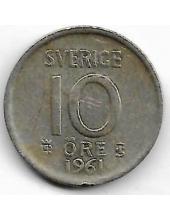 10 эре. 1961 г. Швеция. Серебро. 9-3-415