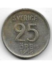 25 Эре. 1956 г. Швеция. Серебро. 9-3-416