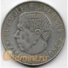 1 крона. 1962 г. Швеция. Густав VI. Серебро. 9-3-417