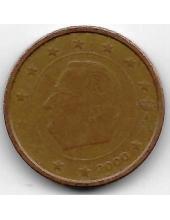 2 евроцента. 2000 г. Бельгия. Король Альберт II. 20-1-123