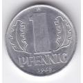 """1 пфенниг. 1963 г. ГДР. """"A"""". 8-2-328"""