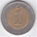 1 новая лира. 2005 г. Турция. Ататюрк. 7-1-155