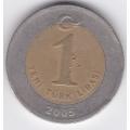 1 новая лира. 2005 г. Турция. Ататюрк. 7-1-156