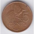 5 центов. 1980 г. Тринидад и Тобаго. Райская птица. 7-2-277