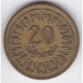 20 миллимов. 1960 г. Тунис. 7-2-296