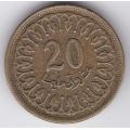 20 миллимов. 1960 г. Тунис. 7-2-299