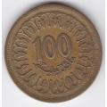 100 миллимов. 1960 г. Тунис. 7-3-319