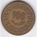 100 миллимов. 1960 г. Тунис. 7-3-321