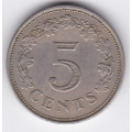 5 центов. 1972 г. Мальта. 7-4-328