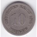 """10 пфеннигов. 1875 г. Германия. """"J"""". 7-6-256"""