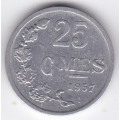 25 сентимов. 1957 г. Люксембург. 16-2-370