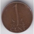 1 цент. 1948 г. Нидерланды. Королева Вильгельмина. 16-3-111