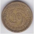 "10 рейхспфеннигов. 1925 г. Германия. ""F"". 16-4-297"