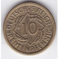 """10 рентенпфеннигов. 1924 г. Германия. """"A"""". 16-5-312"""