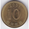 10 вон. 2001 г. Южная Корея. 1-1-315