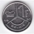 1 франк. 1990 г. Бельгия (на фламандском). 1-3-2Б