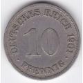 """10 пфеннигов. 1901 г. Германия. """"D"""". 1-4-118"""