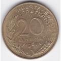 20 сантимов. 1967 г. Франция. 1-6-3