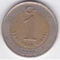 1 новая лира. 2006 г. Турция. 2-1-486