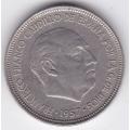 5 песет. 1957 г. Испания. (59). Франсиско Франко. 2-2-23/59