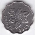 5 центов. 2007 г. Свазиленд. Лилия Арум. 2-2-495