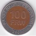 100 франков. 2007 г. Руанда. 2-4-375а