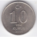 10 новых курушей. 2005 г. Турция. 3-3-327