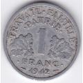1 франк. 1942 г. Франция. Для правительства Виши. 3-3-549