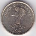 500 шиллингов. 2008 г. Уганда. Венценосный журавль. 3-4-429