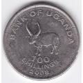 100 шиллингов. 2008 г. Уганда. 3-5-84