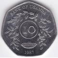 10 шиллингов. 1987 г. Уганда. 10-1-156