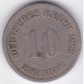 """10 пфеннигов. 1888 г. Германия. """"D"""". 10-1-333"""