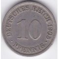 "10 пфеннигов. 1905 г. Германия. ""A"". 10-1-334"
