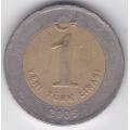 1 новая лира. 2005 г. Турция. 10-1-436