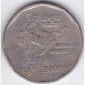 2 рупии. 2000 г. Индия. Карта Индии. 10-3-447