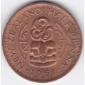 1/2 пенни. 1961 г. Новая Зеландия. 5-1-115