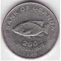 200 шиллингов. 2008 г. Уганда. 5-3-76