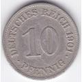 """10 пфеннигов. 1901 г. Германия. """"E"""". 5-3-147"""