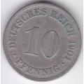"""10 пфеннигов. 1901 г. Германия. """"D"""". 5-3-148"""