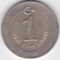 1 новая лира. 2006 г. Турция. 5-5-312